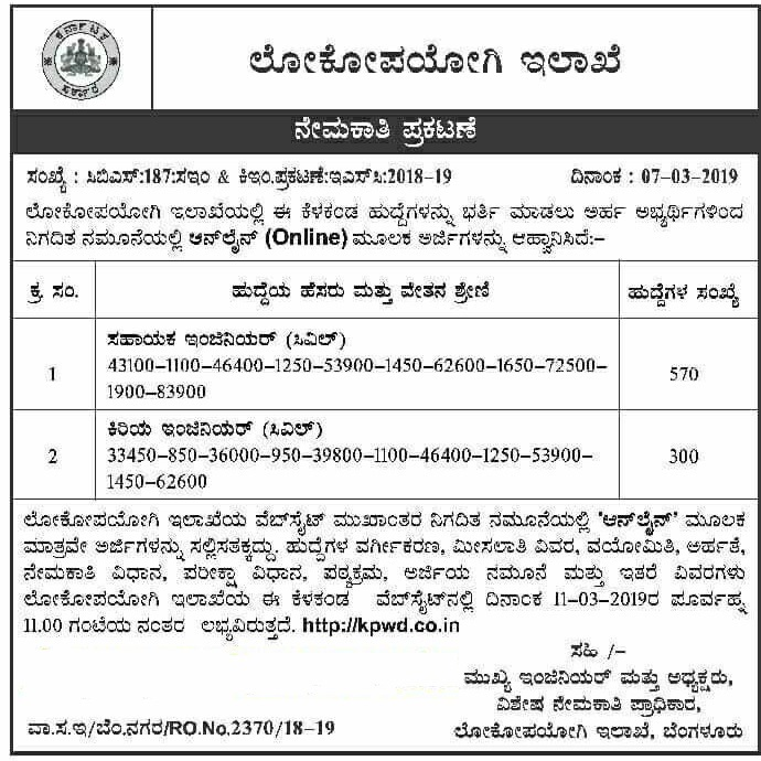Bank Jobs In India Junior Assistant Posts In National Co: Karnataka PWD Recruitment 2019 AE, JE 870 Vacancies